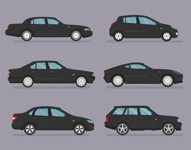 Macchina . set di automobili. stile piatto. vista laterale, profilo. Vettore Premium