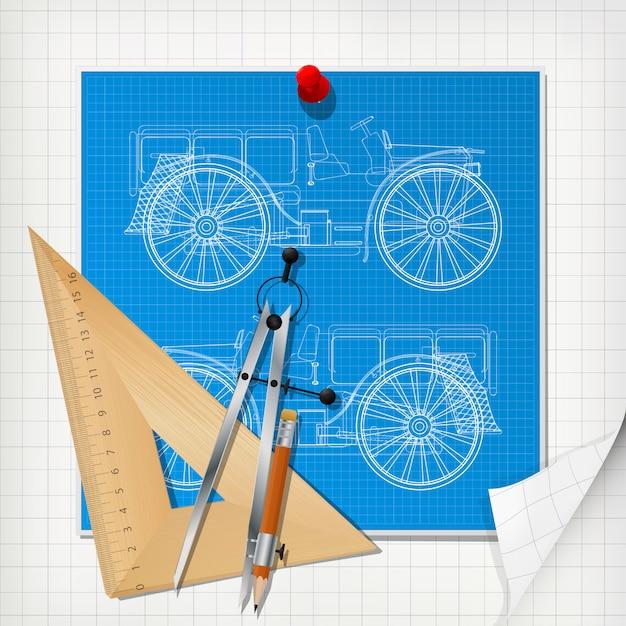 Layout del progetto di design auto Vettore Premium