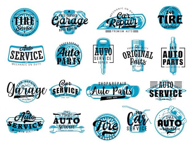 Diagnostica auto, lettere di servizio del negozio di ricambi auto Vettore Premium