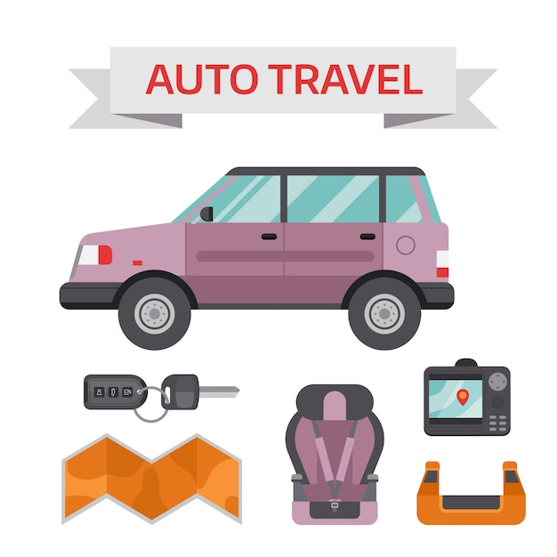 Concetto di elementi di servizio di guida auto con icone piane e attrezzature meccaniche. Vettore Premium