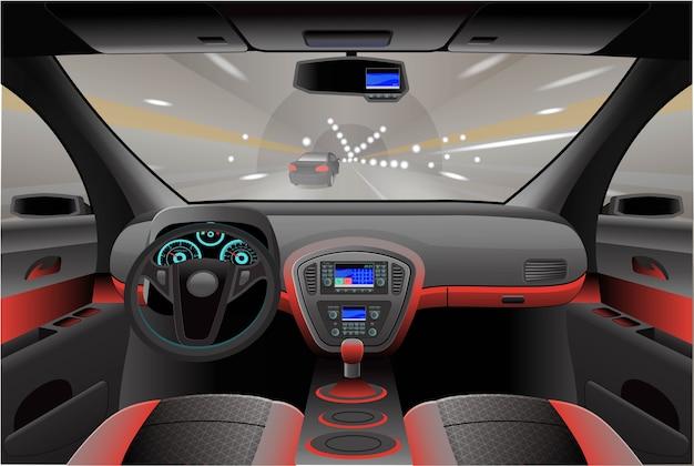 Interni auto, vista dall'abitacolo. illustrazione. Vettore Premium