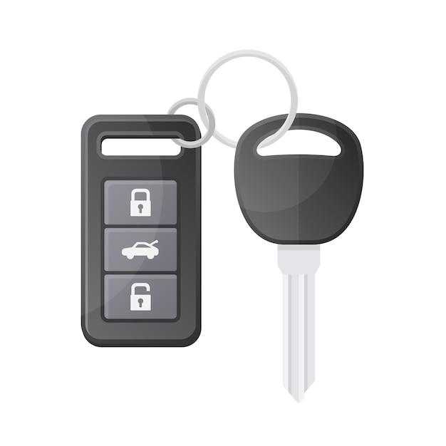 Chiave auto con telecomando su sfondo bianco. Vettore Premium