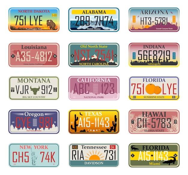 Numeri di immatricolazione dei veicoli negli stati uniti (numeri astratti). targhe auto. numeri di licenza del veicolo di diversi stati e paesi americani, numeri di immatricolazione dei camion Vettore Premium