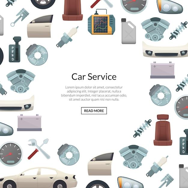 Banner di parti di auto con testo Vettore Premium