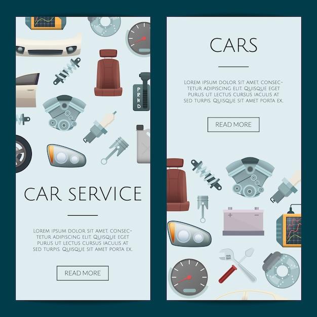 Modelli di banner web parti di automobili Vettore Premium