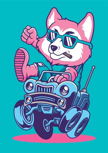 Illustrazione disegnata a mano di car racer fox Vettore Premium