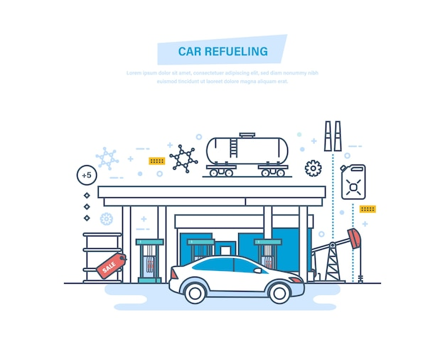 Auto rifornimento di benzina alla linea sottile della stazione di rifornimento Vettore Premium