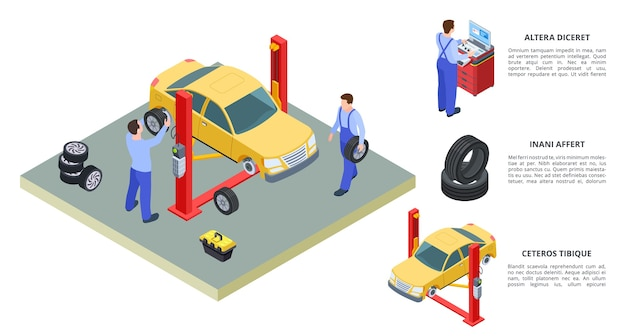 Concetto di servizio auto. illustrazione isometrica di servizio di veicoli e pneumatici di vettore. i tecnici riparano le auto con attrezzature industriali auto. riparazione auto nell'industria del garage, stazione di servizio di diagnostica Vettore Premium