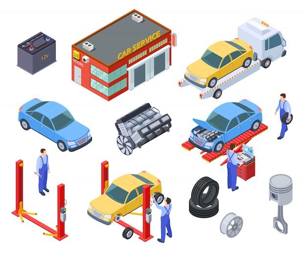 Servizio auto isometrico. le persone riparano le auto con attrezzature industriali auto. i tecnici sostituiscono la parte del veicolo, le ruote. laboratorio Vettore Premium