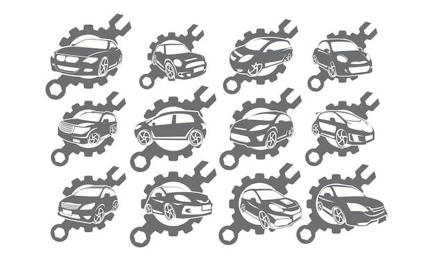 Collezioni di set di insegne con logo del servizio auto Vettore Premium