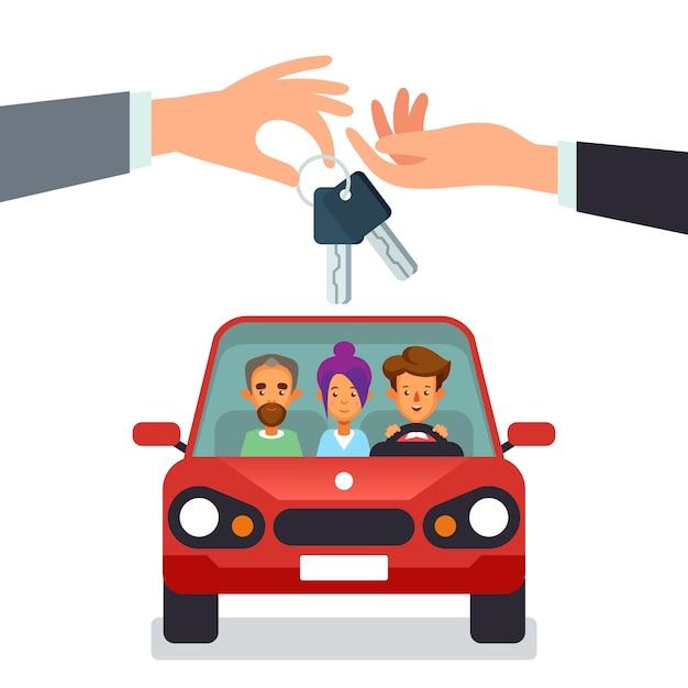 Concetto di car sharing con personaggi mano che dà le chiavi della macchina Vettore Premium
