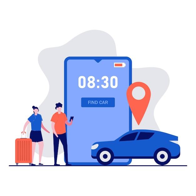 Concetto di app di servizio di car sharing con personaggi. persone che ordinano taxi online, noleggiano e condividono la posizione con l'applicazione mobile. Vettore Premium