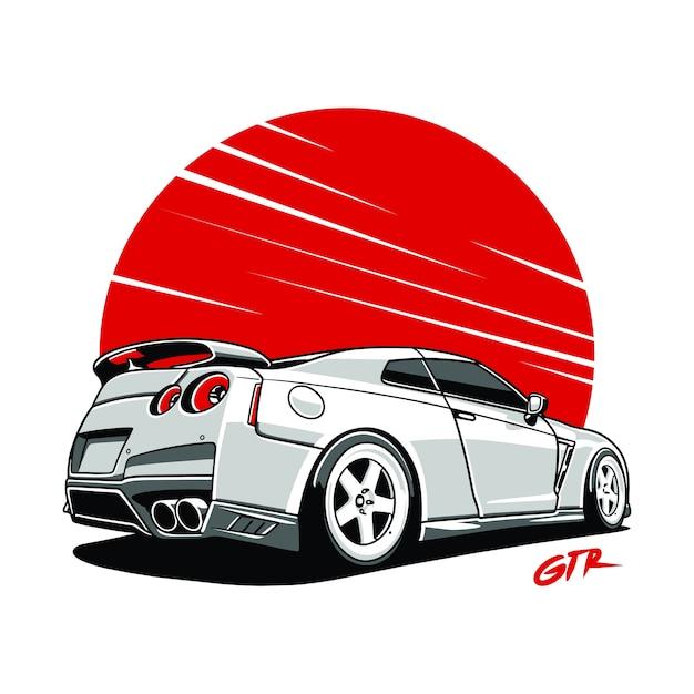 Skyline di auto gtr. illustrasion sport auto Vettore Premium