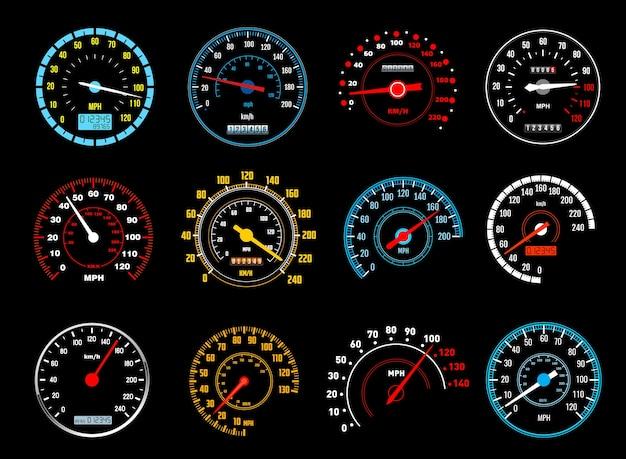 Icone del tachimetro auto dei misuratori di velocità del cruscotto. Vettore Premium