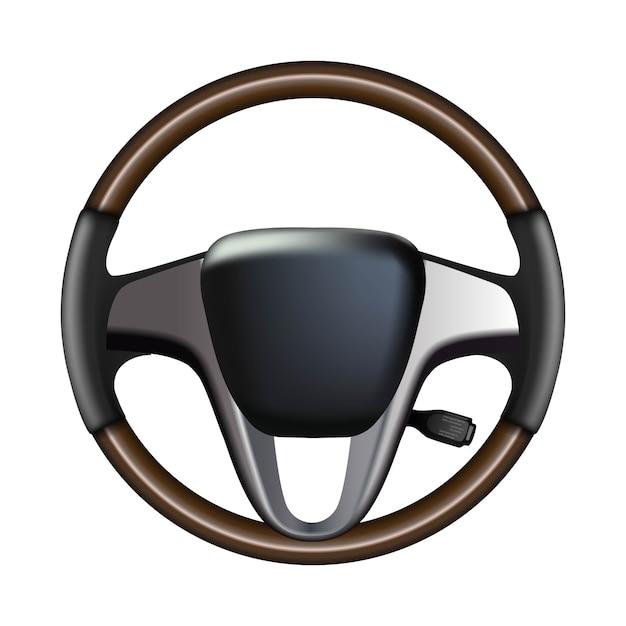 Volante dell'automobile, isolato su bianco Vettore Premium