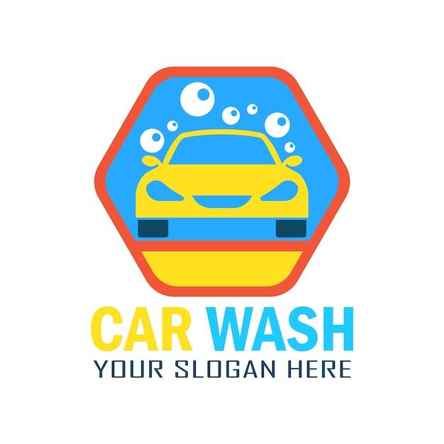 Design del logo di lavaggio auto Vettore Premium