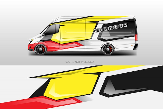 Car wrap disegni vettoriali Vettore Premium