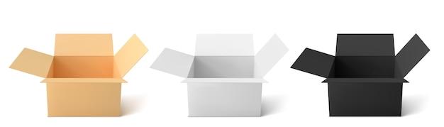 Scatola di cartone di 3 tipi: colore, nero, bianco. scatole aperte vuote isolate su priorità bassa bianca. Vettore Premium