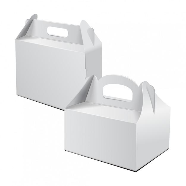 Scatola di cartone. per torte, fast food, regali, ecc. Vettore Premium