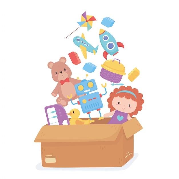 Scatola di cartone piena di oggetti giocattolo per bambini piccoli per giocare a cartoni animati Vettore Premium