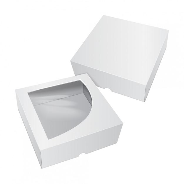 Scatola bianca di torta di cartone. per fast food, regali, ecc. Vettore Premium