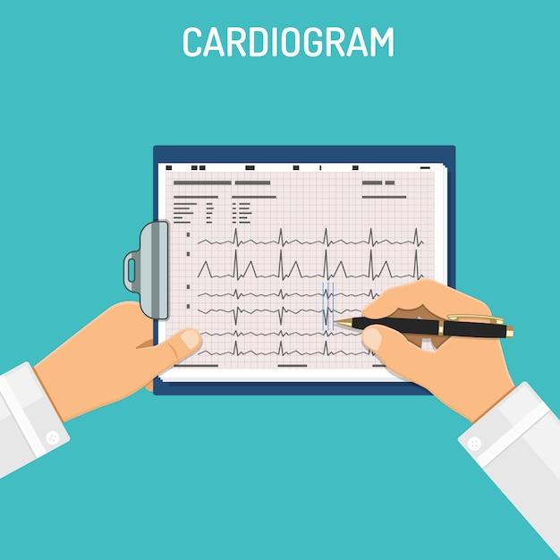 Cardiogramma negli appunti nelle mani del medico Vettore Premium