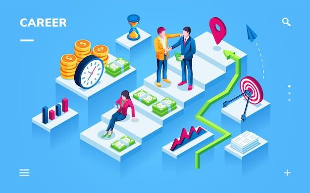 Vista isometrica di sviluppo della carriera per la pagina dello smartphone Vettore Premium