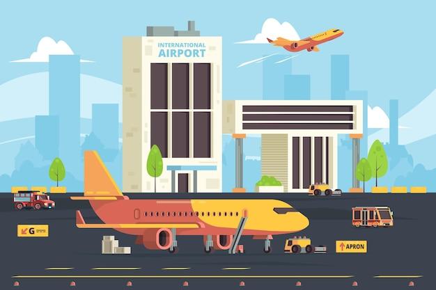 Aereo da carico sulla pista. fondo piano degli aerei del trasporto dell'aeroporto del hangar di preparazione degli aerei del magazzino Vettore Premium