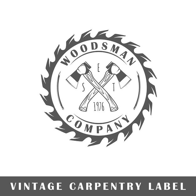 Etichetta di carpenteria su sfondo bianco. elemento. modello per logo, segnaletica, branding. illustrazione Vettore Premium