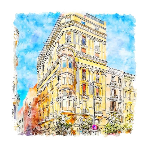 Carrer gran de gracia barcelona acquerello schizzo disegnato a mano Vettore Premium