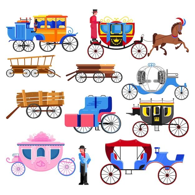 Trasporto in carrozza vettore trasporto vintage con ruote antiche e trasporto antico Vettore Premium