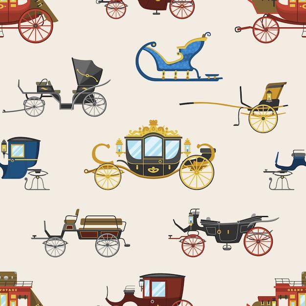 Trasporto vintage vettore di trasporto con ruote antiche e set di illustrazione di trasporto antico di carrozza reale e biga o carro per viaggiare senza cuciture Vettore Premium