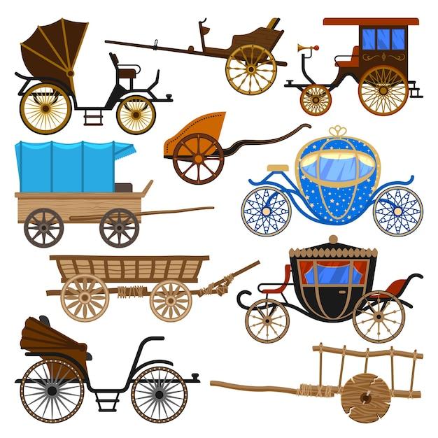 Trasporto vintage in carrozza con vecchie ruote e set di illustrazione di trasporto antico Vettore Premium