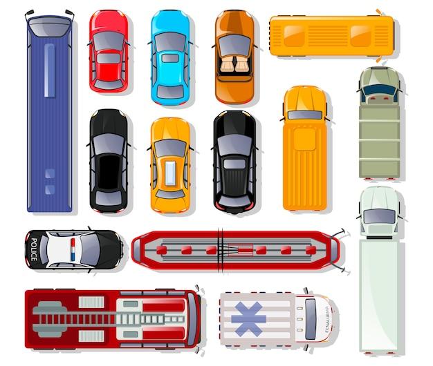 Insieme isolato di vista superiore dei camion e delle automobili. Vettore Premium