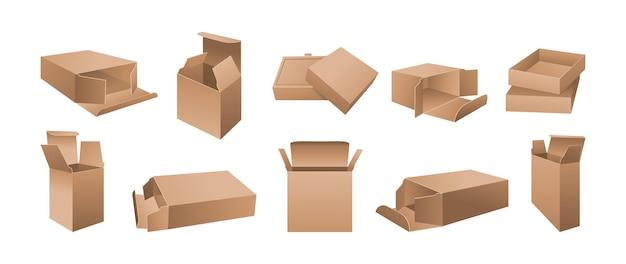 Posizioni del pacchetto di carta aperte in cartone Vettore Premium