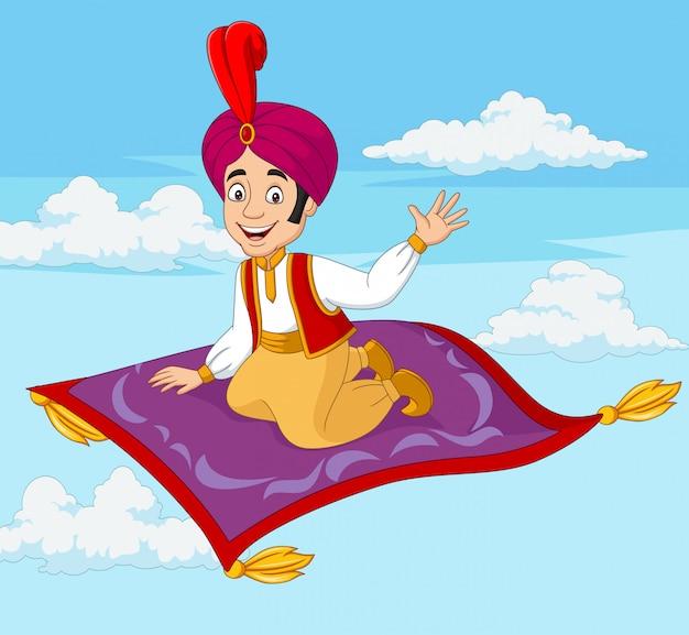 Cartoon aladdin viaggiando sul tappeto volante Vettore Premium
