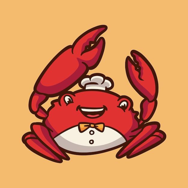 Cartoon design animale granchio felice carino mascotte logo Vettore Premium