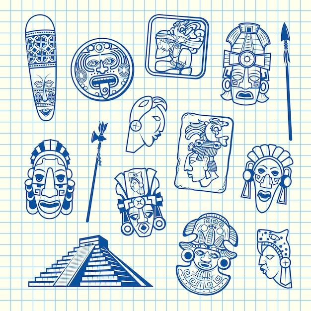 Insieme dell'illustrazione degli elementi della maschera azteca e maya del fumetto Vettore Premium