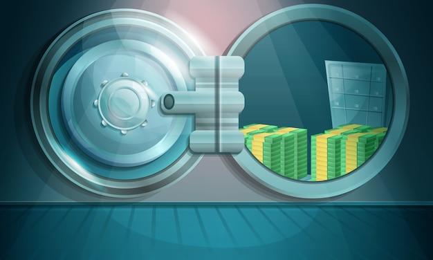 Volta di banca del fumetto con soldi, illustrazione Vettore Premium