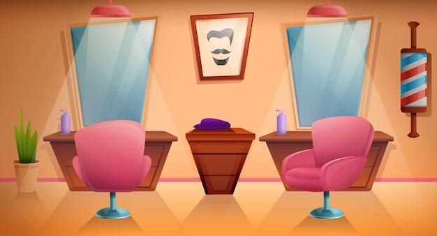 Negozio di barbiere del fumetto con mobilia ed attrezzatura, illustrazione Vettore Premium