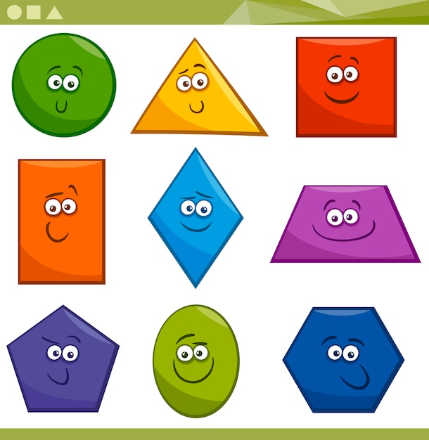 Cartoon forme geometriche di base Vettore Premium