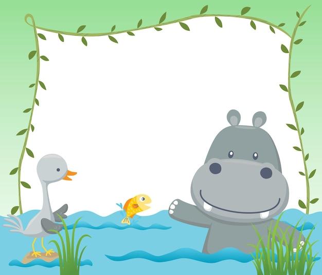 Cartone animato di cornice vuota vuota con ippopotamo divertente e uccello gru nella palude Vettore Premium
