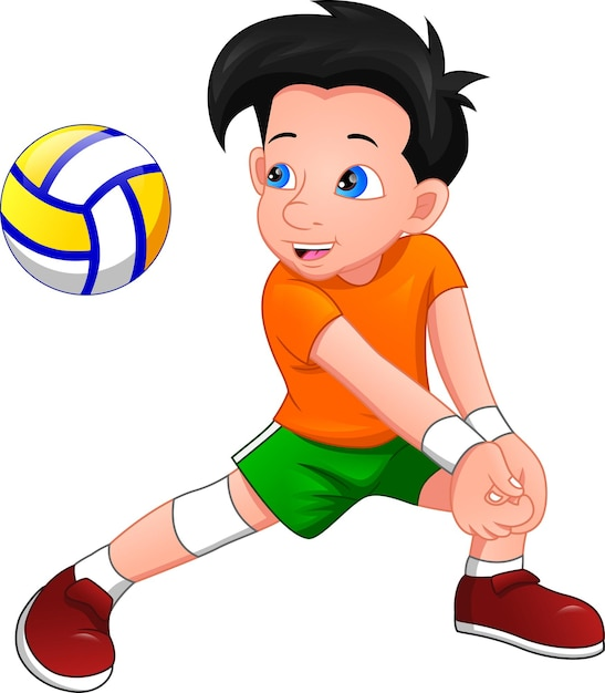Ragazzo cartone animato giocando a pallavolo Vettore Premium