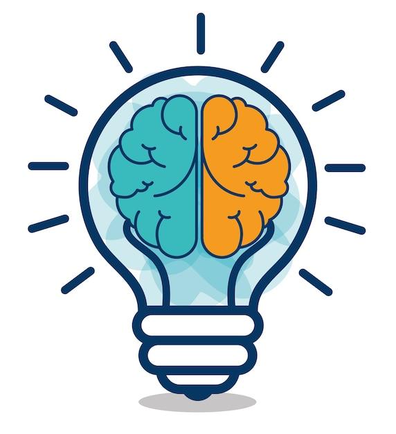 Progettazione creativa di idea del cervello del fumetto Vettore Premium