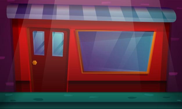 Costruzione del fumetto con una finestra del negozio, illustrazione Vettore Premium