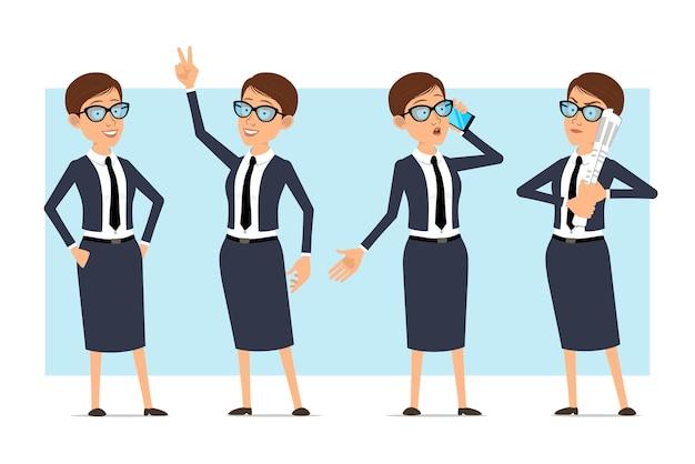 Posture di carattere donna allenatore di affari del fumetto Vettore Premium
