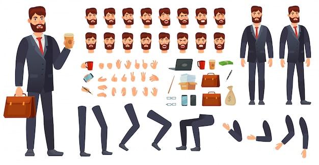 Kit personaggio dei cartoni animati uomo d'affari. costruttore di personaggi aziendali, diversi gesti delle mani, emozioni del viso e set di vettore delle gambe Vettore Premium