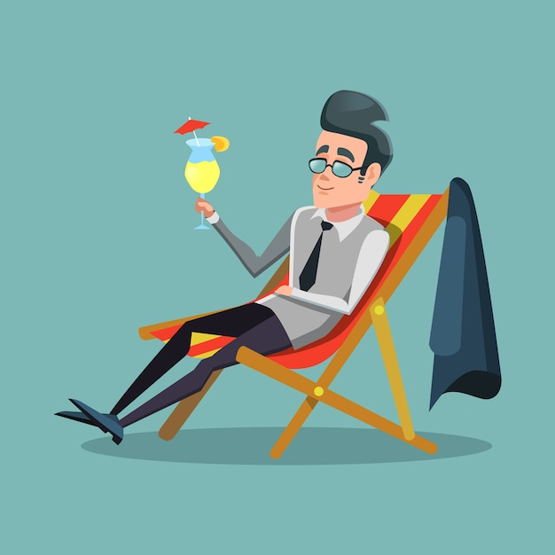 Uomo d'affari del fumetto che si distende in vacanza con cocktail tropicale. vacanze estive. Vettore Premium