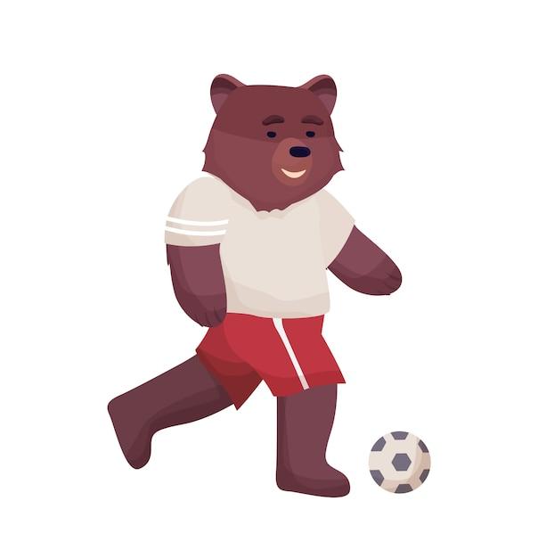 Il giocatore di football americano dell'orso del personaggio dei cartoni animati in maglietta e pantaloncini dell'uniforme di sport gioca il pallone da calcio. Vettore Premium