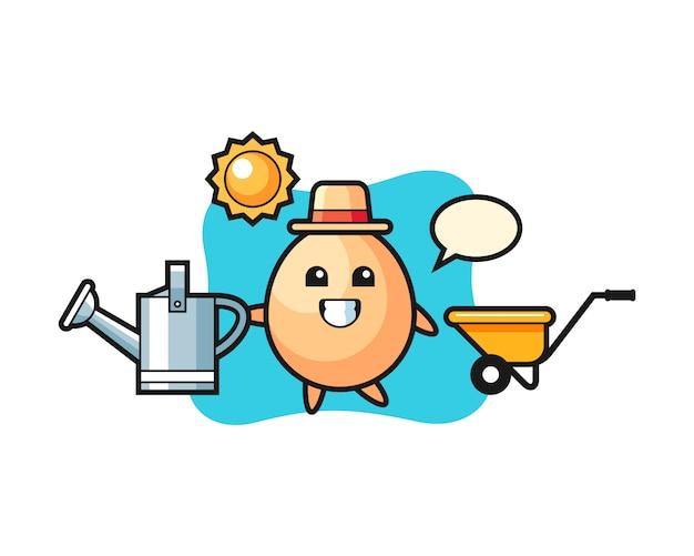 Personaggio dei cartoni animati di annaffiatoio che tiene uovo, stile carino per t-shirt, adesivo, elemento logo Vettore Premium